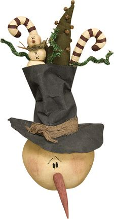 primitive snowman and Christmas trees -