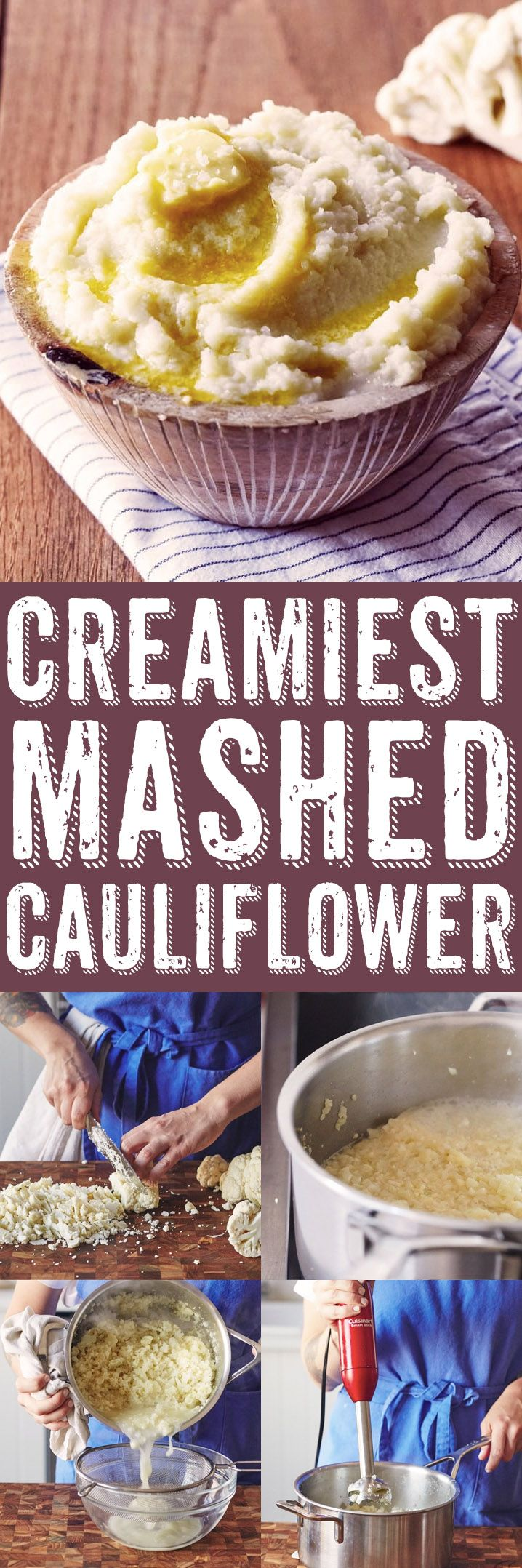 How To Make the Creamiest Mashed Cauliflower Side Dish Recipe. This is low carb recipe is easy, healthy, vegan and totally unique! There's absolutely no dairy -- meaning you don't need cream to make this easy weeknight side. Great if you're looking for frozen cauliflower recipes or side dishes, or a replacement for mashed potatoes.