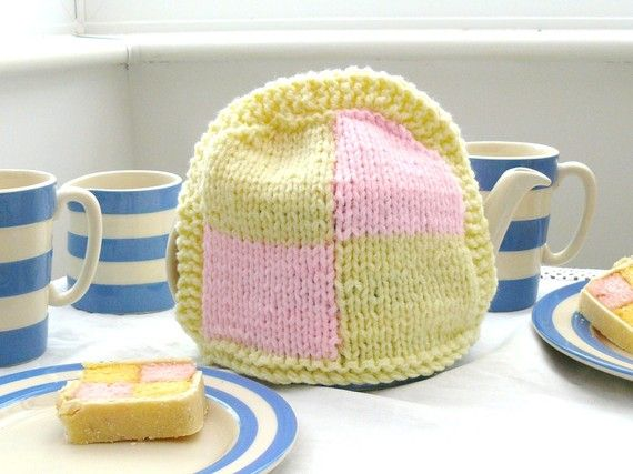 Knitted Battenburg cake tea cosy  handmade  by TheFluffyDuck, £13.95