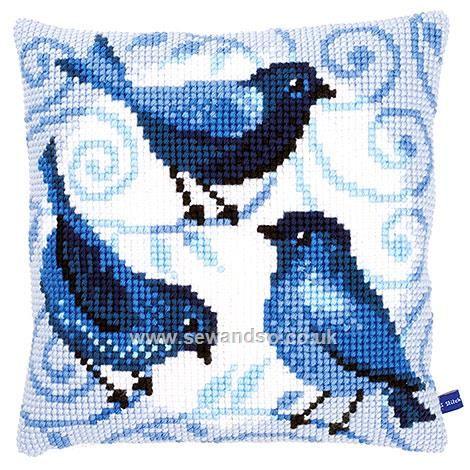Buy Blue Birds Cushion Front Chunky Cross Stitch Kit Online at www.sewandso.co.uk