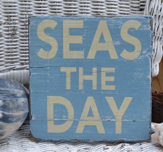 Beach Sign, Coastal Sign, SEAS THE DAY Beach Coastal Nautical Decor Handpainted Reclaimed Beach Wood Sign