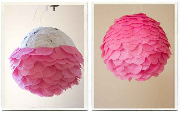 Turn a cheap piñata into something fabulous with tissue paper petals!