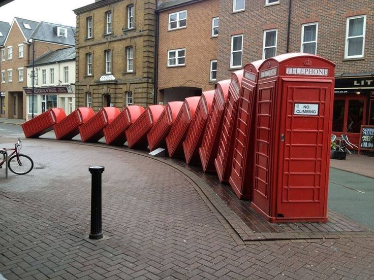 The domino effect with red phone boxes