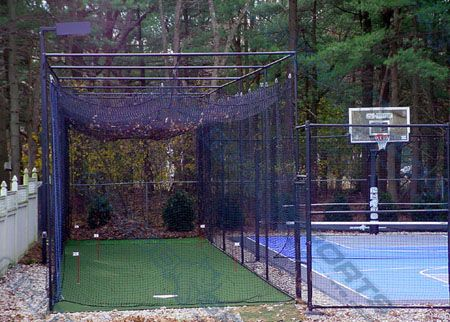 backyard baseball cage - on side of house