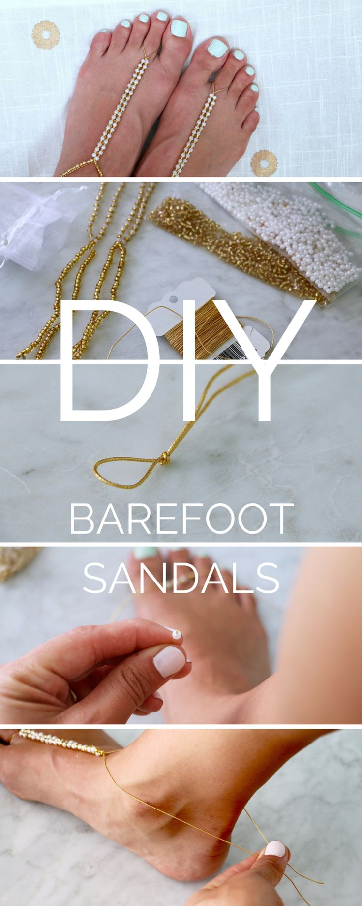 DIY Barefoot Sandals for a Beach Wedding - a quick, easy tutorial. Makes a great gift for a bride or her bridesmaids!