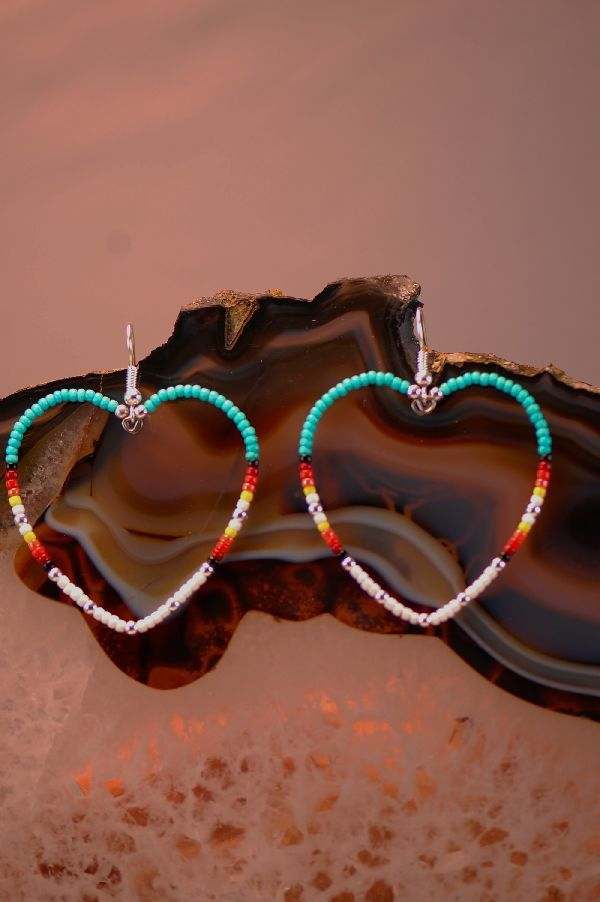 native american beaded crafts | Native American Heart Beaded Earrings | Beaded Native American ...
