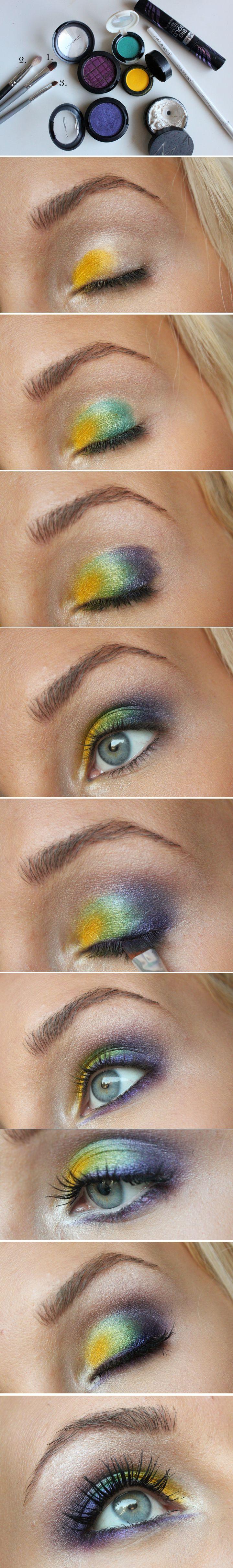 Helen Torsgården - colored eyeshadow: Blogger Helen, Makeup Tutorials, Peacock Eyeshadow, Hair Style, Colored Eyeshadow