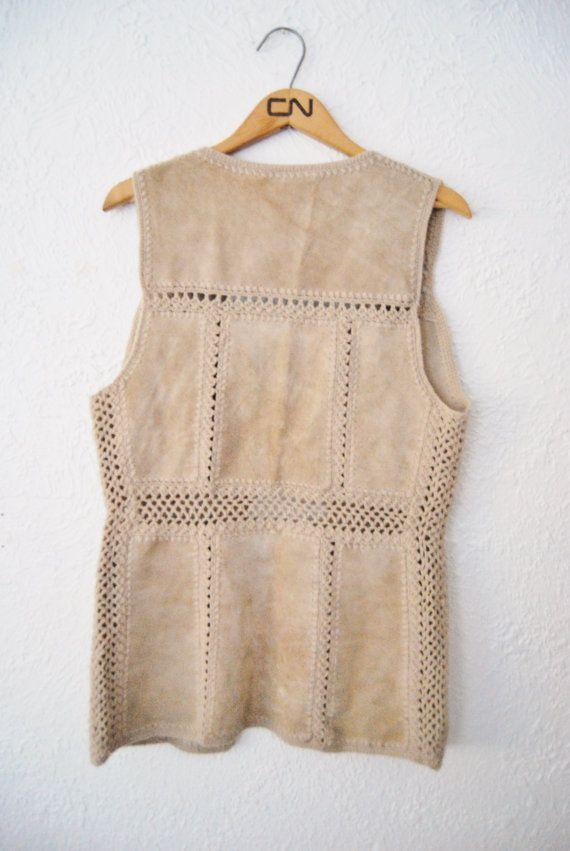 Vintage 80s Brown Suede Cutout Hippie Vest Boho by WinstonVintage
