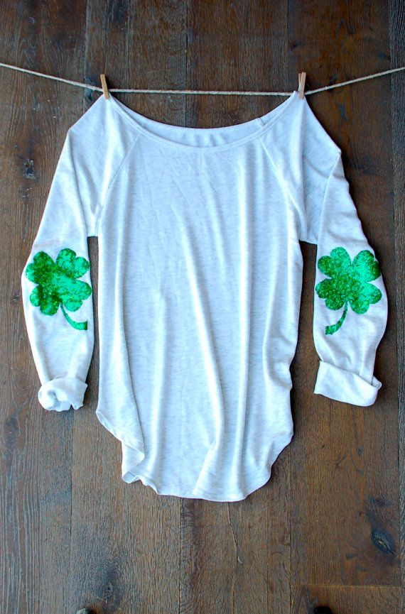 Want... St Patricks Day Shirt Sequin Four Leaf Clover by ICaughtTheSun