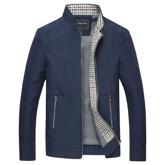 Spring Summer Thin Varsity Jacket Men Fashion Stand Collar Business Jackets Coat Pockets Windproof Mens Outwear Windbreakers