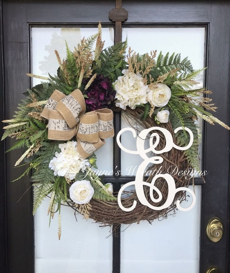 "Large 30"" Grapevine Wreath with Hydrangeas and Letter. Also available in 22""-24"". By Jayne's Wreath Designs on fb and Instagram"