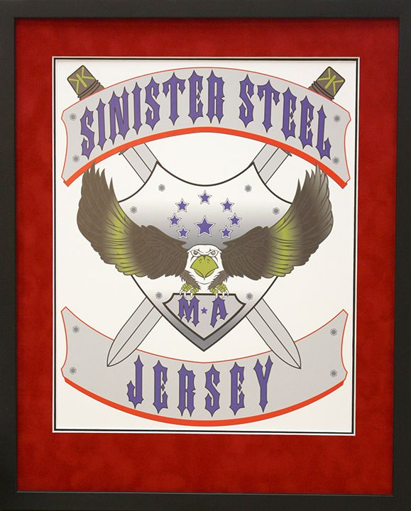 Sinister Steel Jersey print in custom frame. Custom design by Art and Frame Express in New Jersey.
