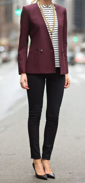 Office wear | Striped shirt, plum blazer, skinnies, golden necklace and heels
