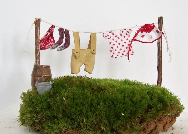 Fairy Garden Miniature Clothesline Featuring Lederhosen Gnome Elf Garden Accessories Wash Line Miniature Clothes – Fairies