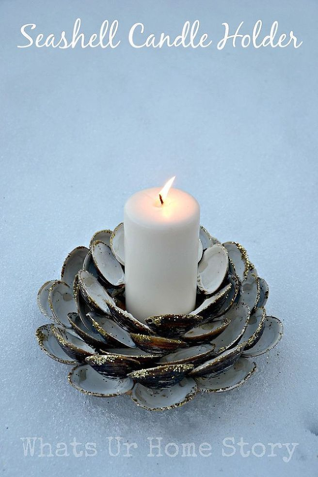 When life gives you clams, make a unique clam shell candle holder..