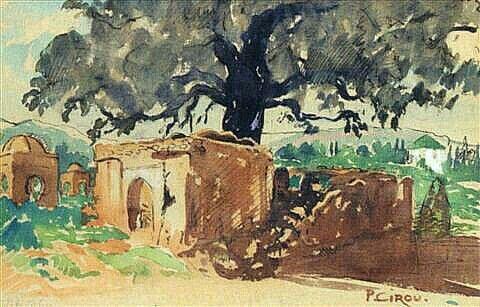 Peinture d'Algérie - Peintre Français,  Paul Cirou(1869 - 1951), Aquarelle , Titre: Le marabout