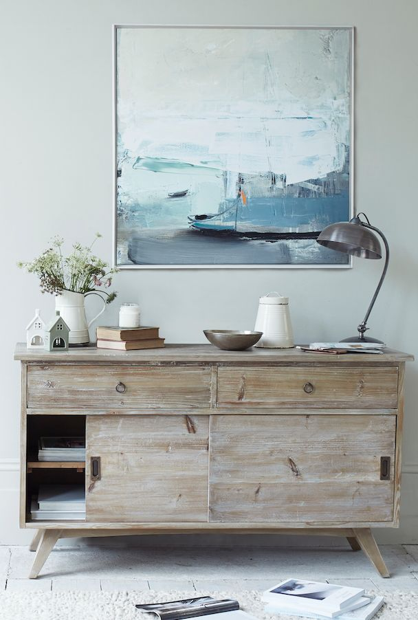 Loaf's midcentury Hoot sideboard with coastal Ben Lowe canvas print
