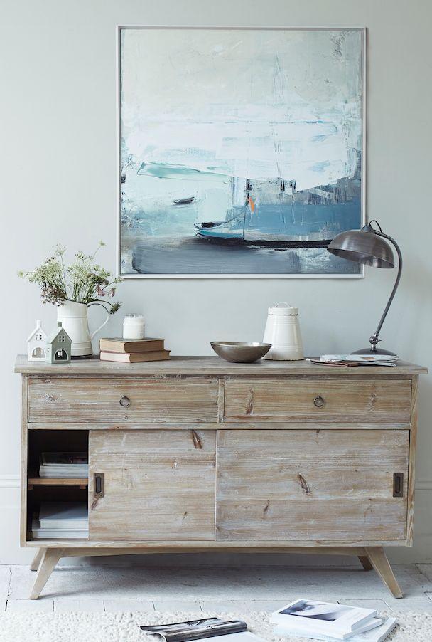 Loaf's midcentury Hoot sideboard with coastal Ben Lowe canvas print