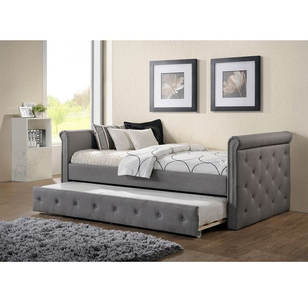 Sofa Table Baxton Studio Aisopos Modern and Contemporary Tufted Size Daybed with Roll out Trundle Guest Bed