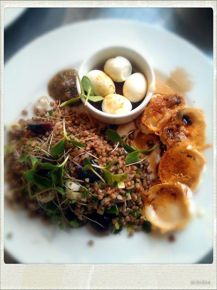 Buckwheat salad, quails eggs, achovie dressing, goats chese, 10yrs balsamico.
