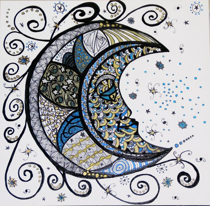 Zentangle 5: The Moon (SOLD) - Abstract Artwork by Nancy Chovancek Abstract Art - abstract artwork Abstract Art - zentangle artwork Abstract Artwork by Nancy Chovancek - 123rf.com
