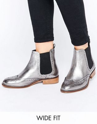 Dune Wide Fit Quenton Pewter Leather Brogue Chelsea Boots
