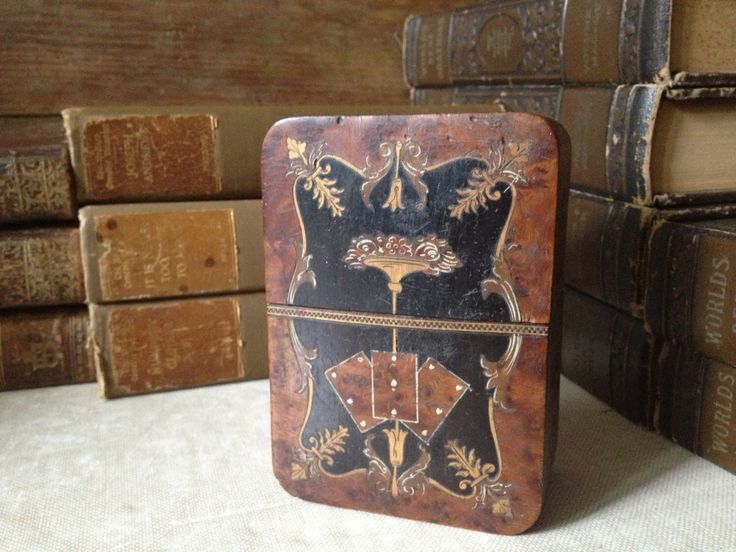 Vintage Fabulous Italian Sorrento Ware Marquetry  // Artisan Wood Marquetry & Handpainted  Playing Card Case // Two Decks by JansVintageStuff on Etsy https://www.etsy.com/listing/204013632/vintage-fabulous-italian-sorrento-ware