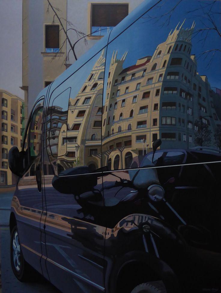 Mimetizado en el entorno urbano / Mimetized on the urban environment En Bilbao, junto a la Plaza de Dn. Ramón Basterra Pintura acrílica sobre soporte rígido, tamaño 130 x118 cm (60 Figura)  Bilbao, close to Ramón Basterra square Acrylic paint over wooden canvas of size 130 x 118 cm (60 Figure)