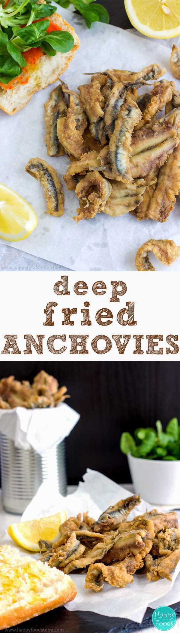 Deep Fried Anchovies - Easy Spanish seafood tapas with freshly squized lemon juice, Spanish food, fish, starter, appetizer, recipe, tapa, Spain | happyfoodstube.com