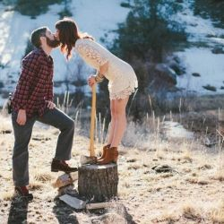 A lumberjack inspired engagement session in Colorado by Jessica Christie Photography.