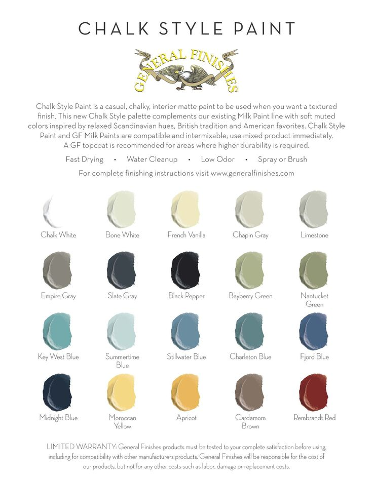 Chalk Style Paint is a casual chalky interior matte paint in 20 contemporary colors. This new palette complements our lively Milk Paint line with colors inspired by relaxed Scandinavian hues, British                                                                                                                                                                                  More