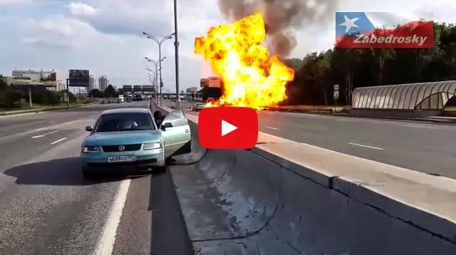 Brutal Accidente en Autopista Con Explosiones de Gas Propano - TVEstudio