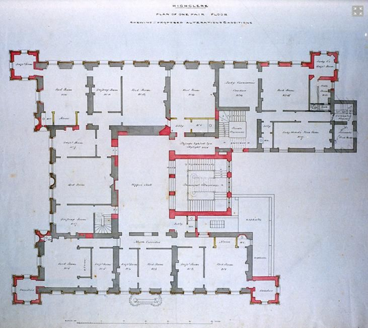 Plan of Highclere Castle (Downton Abbey)