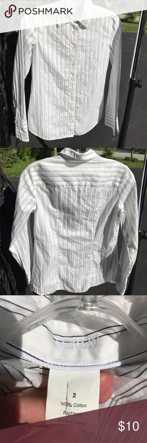 J CREW dress shirt size 2 J CREW size 2 business casual button down dress shirt. White with black pin stripe, machine washable no flaws. J. Crew Tops Button Down Shirts