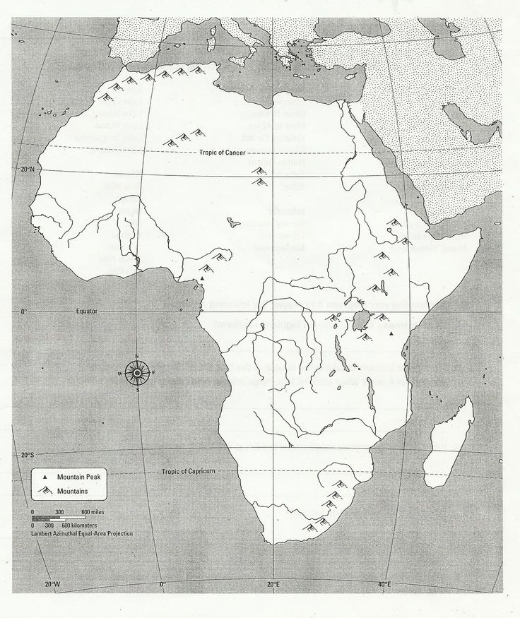 Blank Africa Physical Map Too cool for school