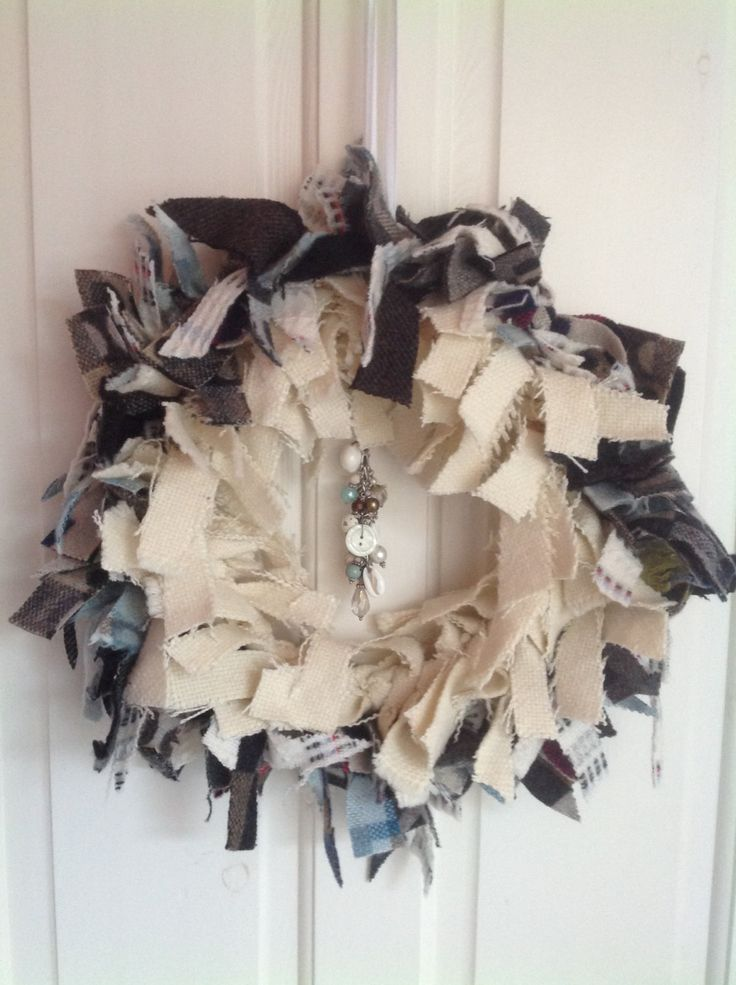 Rag wreath beautiful vintage wools blue mohair chesnut tweed winter tones handmade 14 inches shabby chic boho Christmas wall door decoration by ReworkedHomewares on Etsy