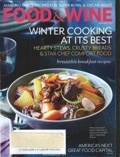 Food & Wine Magazine, February 2013  (recipe index)