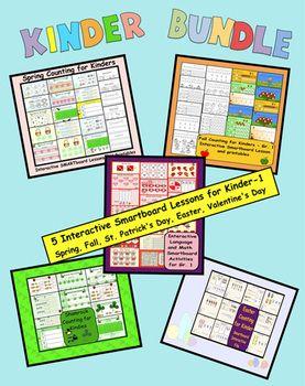 Kinder Seasonal Smartboard Bundle (Fall/Spring/Easter/St.