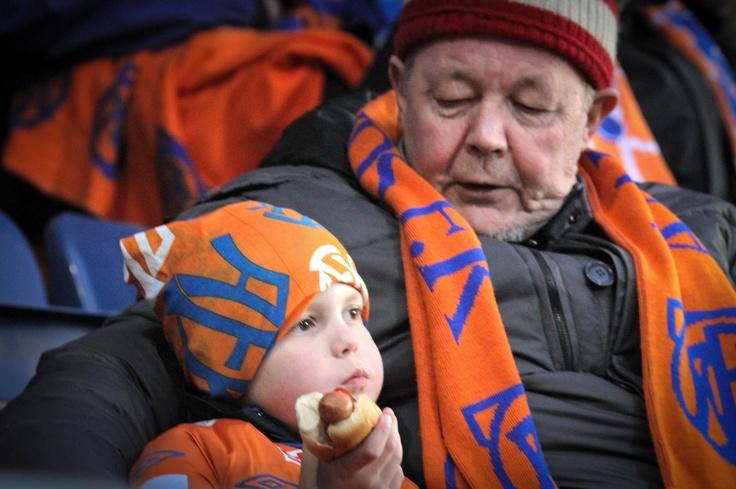 Grandpa and his grandchild at AaFK Soccer game 2. april 2012