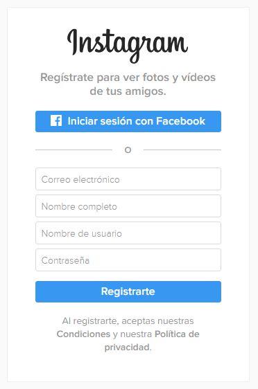 #instagram Registrarse