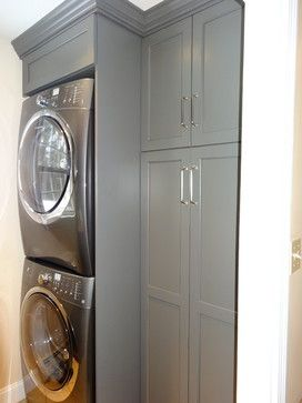 Stacking the washer/dryer would gain maximum storage in the laundry/pantry.