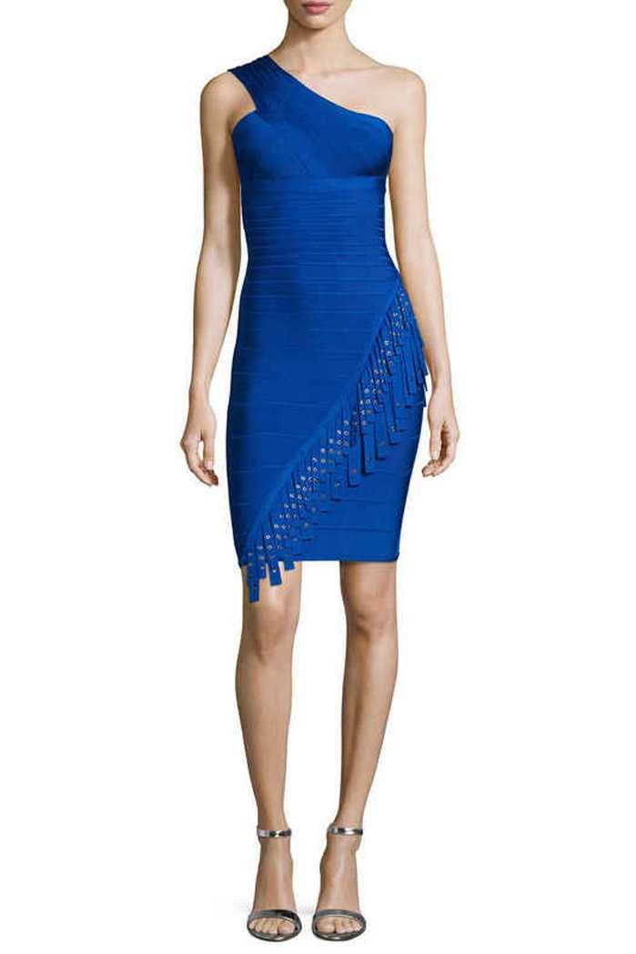 Herve Leger Celebrity Bandage Dresses One Shoulder Blue Sequined Fringe  Mini Dress
