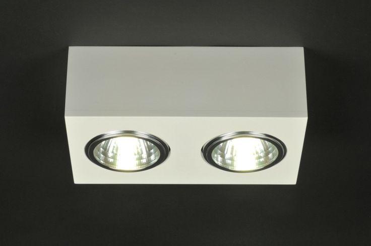 Plafondlamp 70746 modern hout metaal wit mat rechthoekig