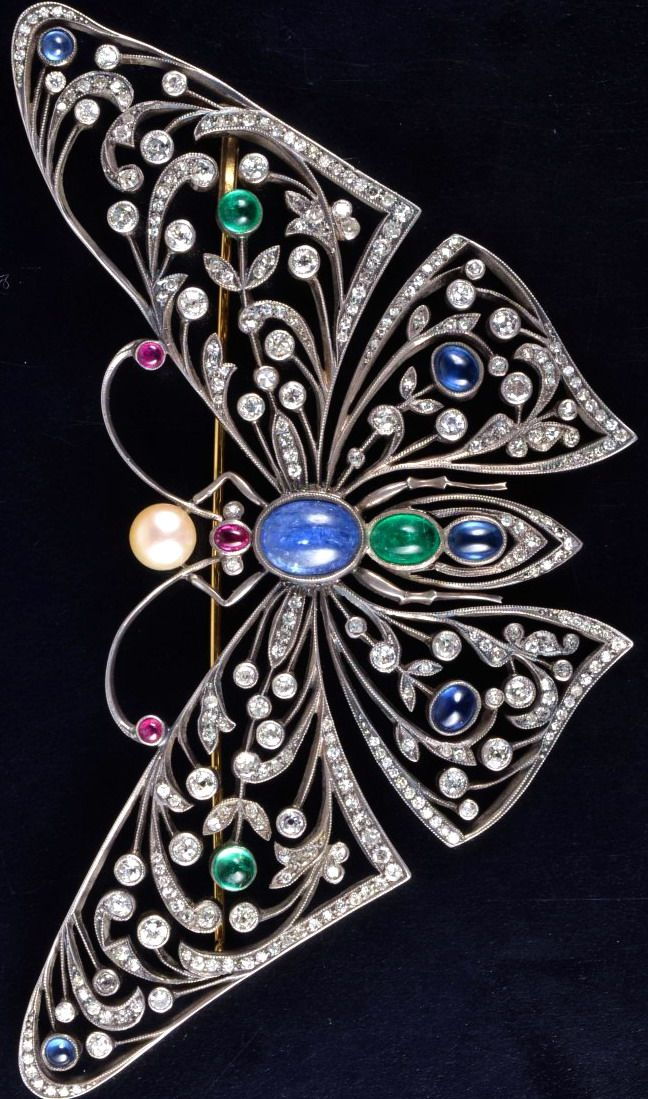 Silver on gold diamond pearl gem set butterfly brooch. 4 1/2 inches x 2 11/16inches, 46.6 grams.
