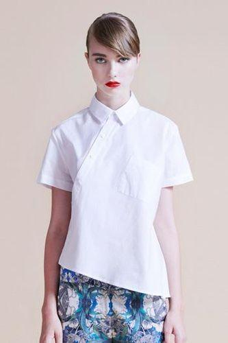 Diagonal shirt, white