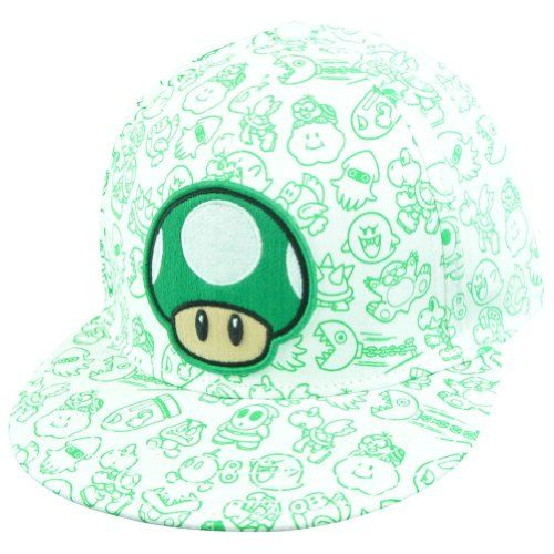 Nintendo 1UP Mushroom Super Mario Flat Brim Fitted Baseball Cap Hat (Green) @ niftywarehouse.com