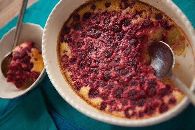 Tenina's Lemon Coconut Pudding With Raspberries
