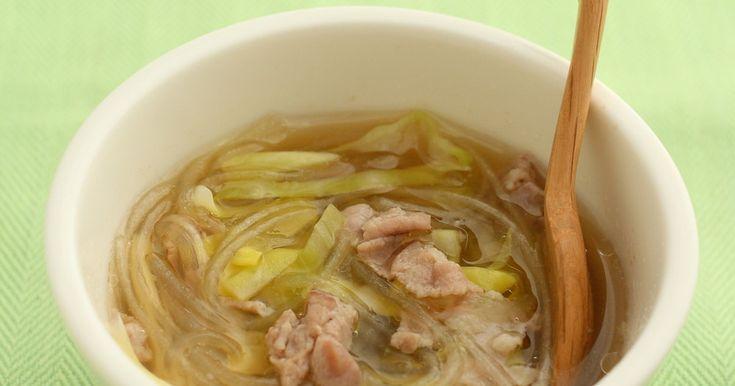 「エバラ プチッと鍋」の寄せ鍋味を使ったダイエットスープ!春雨がおいしいダシを吸ってます!おかずにもなって一石二鳥♪