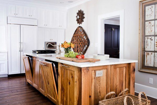 kitchen island ideas hickory cabinets hardwood flooring white countertop