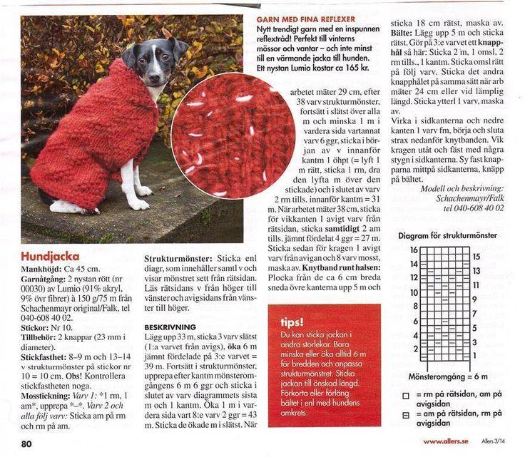 Stickbeskrivning till hundjacka på Tradera.com - Stickmönster för sömnad